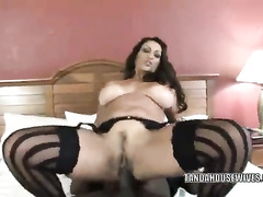 Black guy erupts cum in vagina of busty slut in stockings