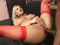 Black man with monster cock makes blonde from cage enjoy anal