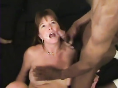Mature slut not afraid of group sex with chocolate guys