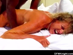 Curly blonde wife's painful bbc creampie