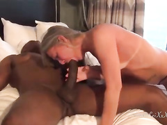 Mature whore and black partner reach orgasm at the same time