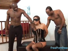 Interracial big titted latina threesome