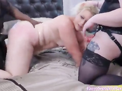 Blonde PAWG mom BBC gangbang orgy w creampie