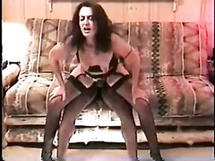 Brunette in stockings rides BBC dick w her pussy