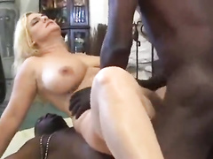 Black guys double penetrate buxom blonde in front of husband