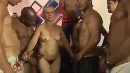 Blonde Brazilian cougar granny gets gangbanged
