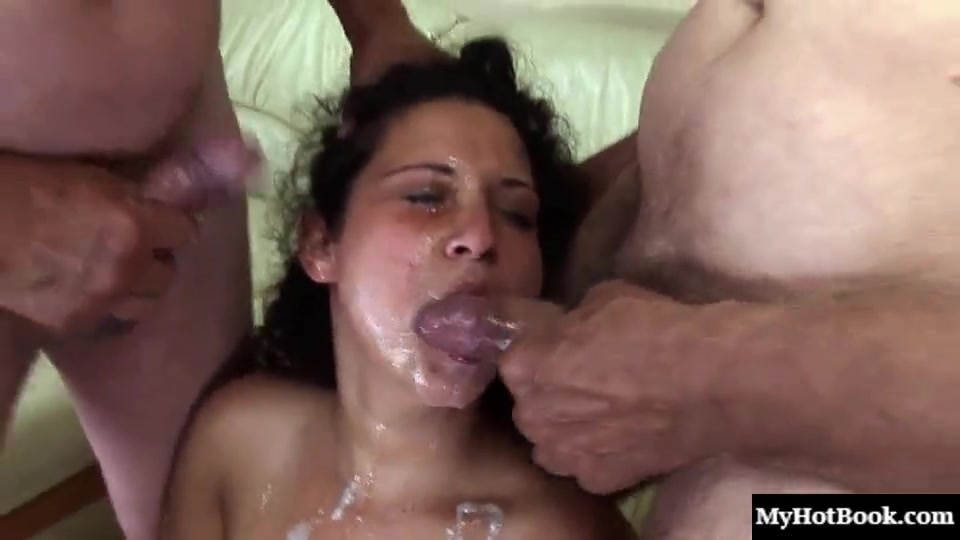 Curly chubby latina wife fucked by 3 old men