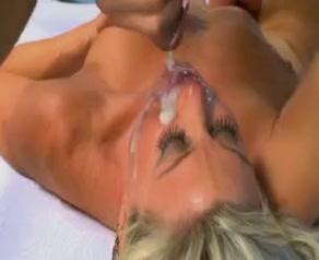 Milf cumslut receives black juice in her face