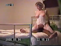 White busty hotwife in lingerie rides her black bull's cock